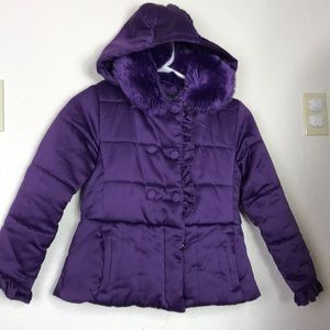 Rothschild Jackets & Coats - Girls Rothschild Faux Fur matte satin jacket